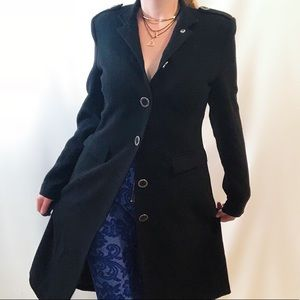 Reitman's black button up trench coat